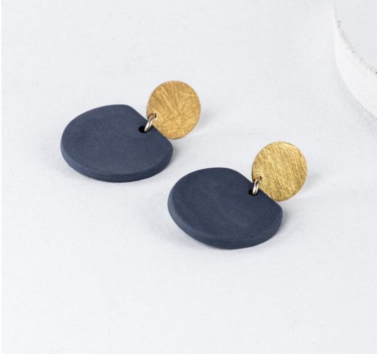 One & Eight Porcelain Cobalt Eve Earrings