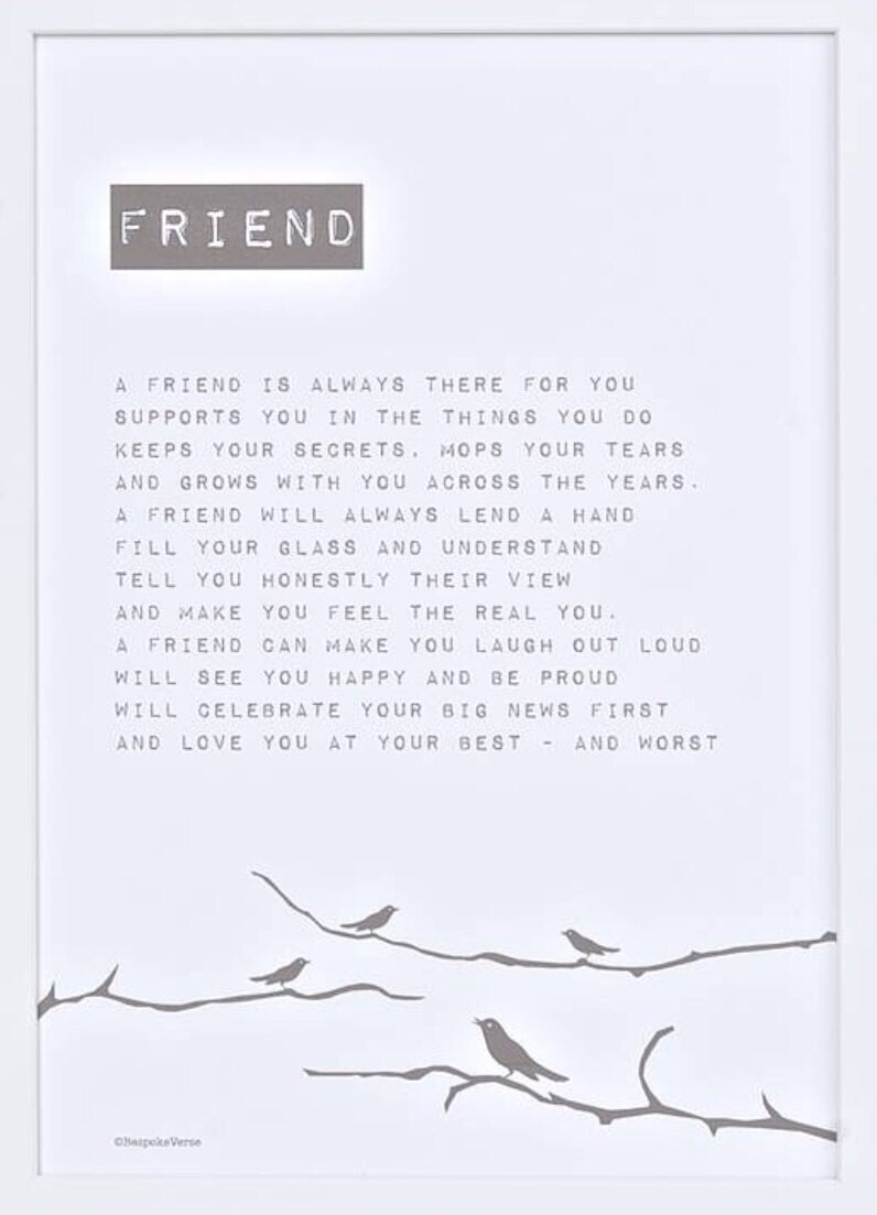 Bespoke Verse Friend Bird Poem Print