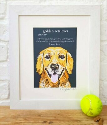 Lucky Lobster Unframed Golden Retriever Dictionary Print