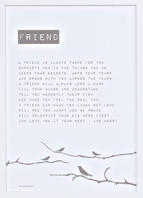Bespoke Verse Friend Bird Poem Print