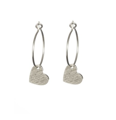 One & Eight Silver Brushed Heart Earrings
