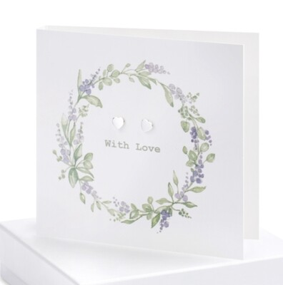 Crumble and Core Boxed Lavender Wreath Earring Card