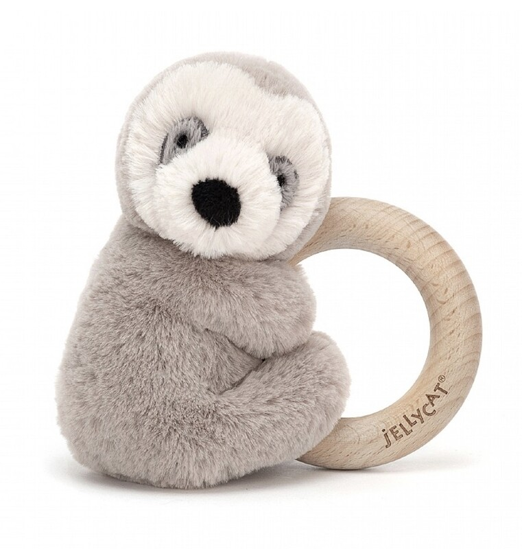 Jellycat Sooshu Sloth Wooden Ring Toy