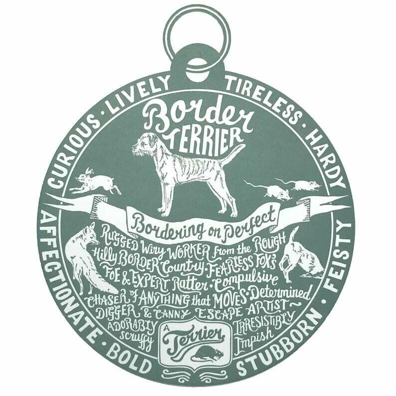 Debbie Kendall Border Terrier Dog Tag Print