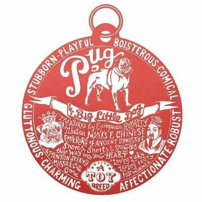 Debbie Kendall Pug Dog Tag Print