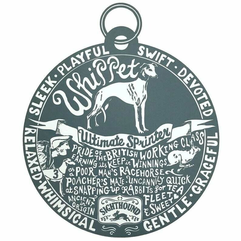 Debbie Kendall Whippet Dog Tag Print