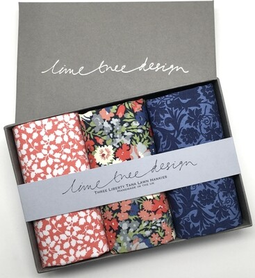 Lime Tree Design Hyde Park 3 Liberty Hankies in a Gift Box