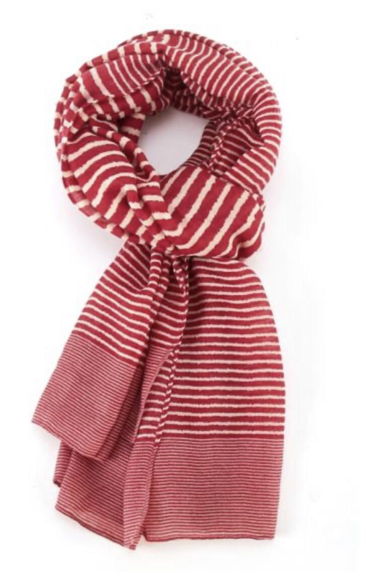 Fashion Scarf Stripes Red