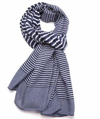 Fashion Scarf navy stripes