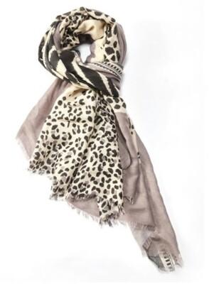 Fashion Scarf Tiger and Leopard grey