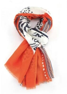 Fashion Scarf Tiger and Leopard orange