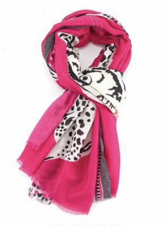 Fashion Scarf Tiger and Leopard fushia