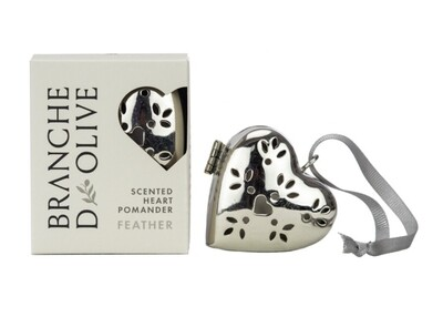 Branche D'Olive Silver Heart Pomander - Feather