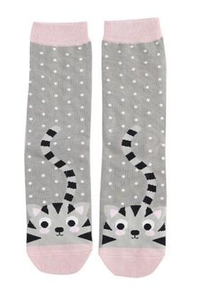 Ladies Bamboo Socks grey kitten