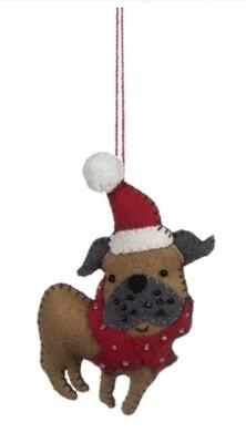 Felt Pug in a Santa Hat