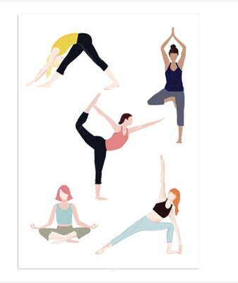 Pack of Notecards Yoga Girls