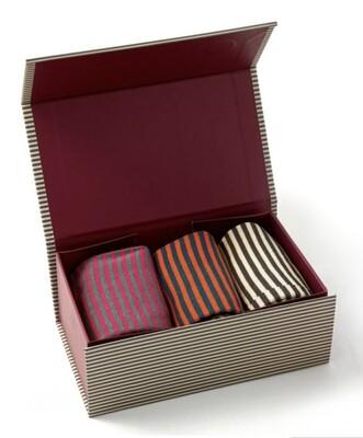Men's Bamboo Socks Box of 3 Striped