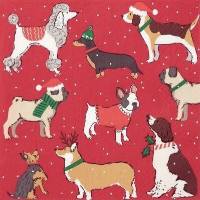 Christmas Napkins - Festive Dogs