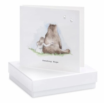 Crumble and Core Boxed Bear and Girl Earring Card