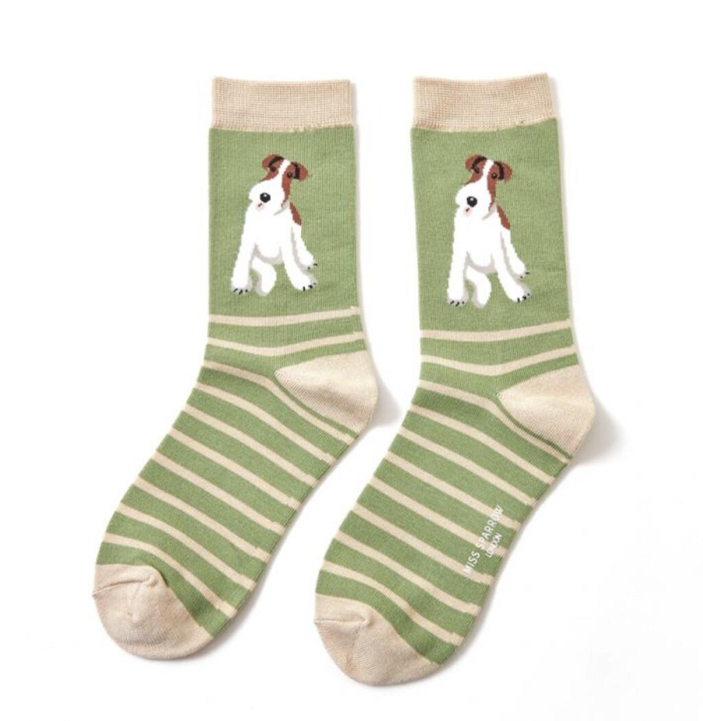 Ladies Bamboo Socks Fox Terrier