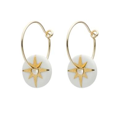 One & Eight Earrings Porcelain Gold Star  White