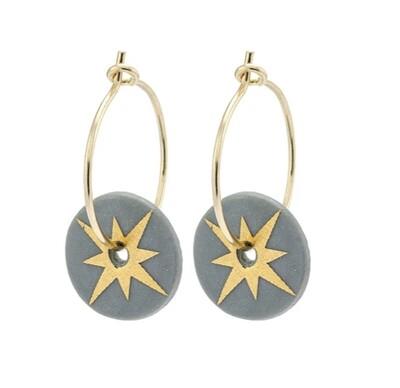 One & Eight Earrings Porcelain Gold Star  Grey