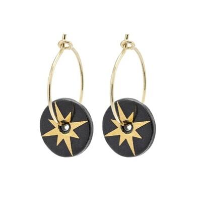 One & Eight Earrings Porcelain Gold Star  Black