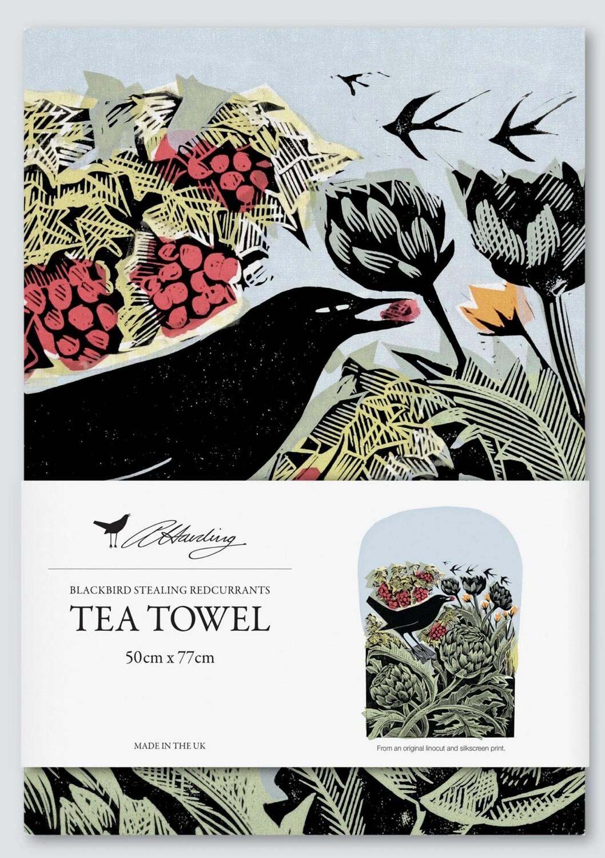 Angela Harding Tea Towel   Blackbird