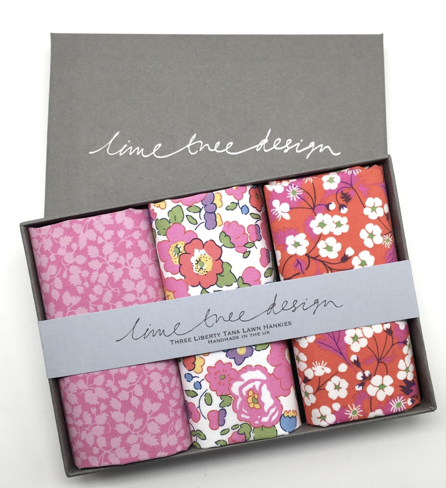 Lime Tree Design 3 Liberty Hankies in a Gift Box Pink Panther