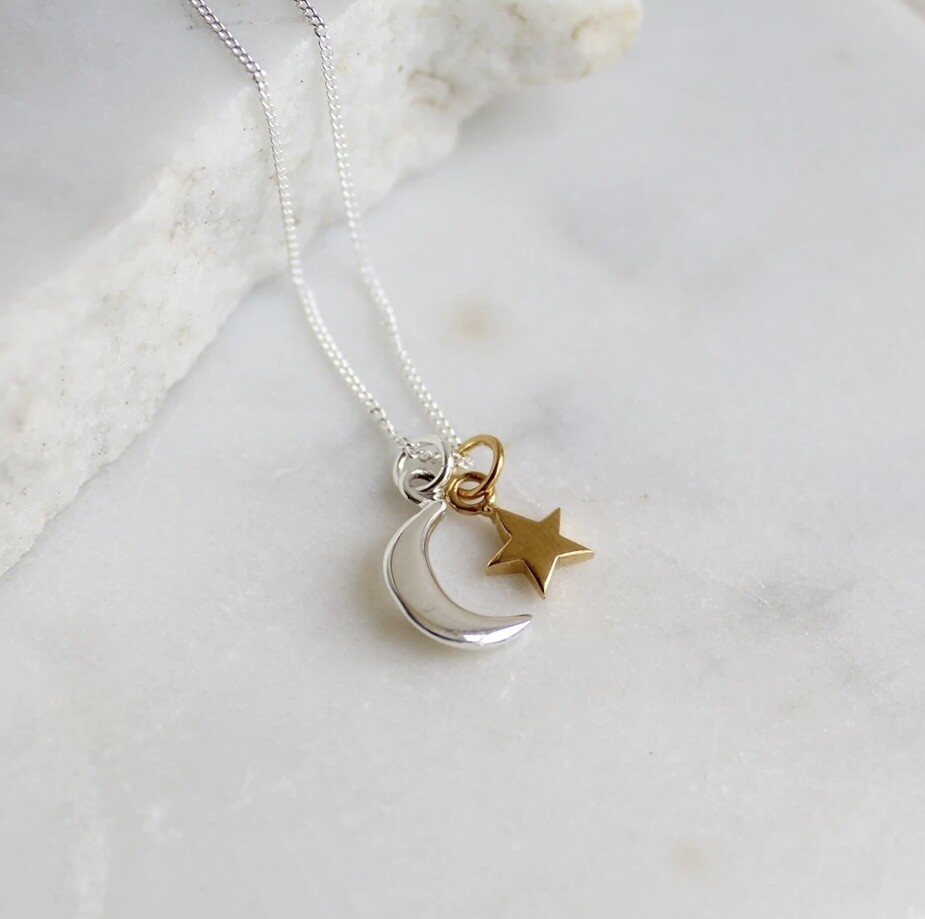 Lime Tree Design Moon and Star Necklace Sterling Silver and Gold Vermeil