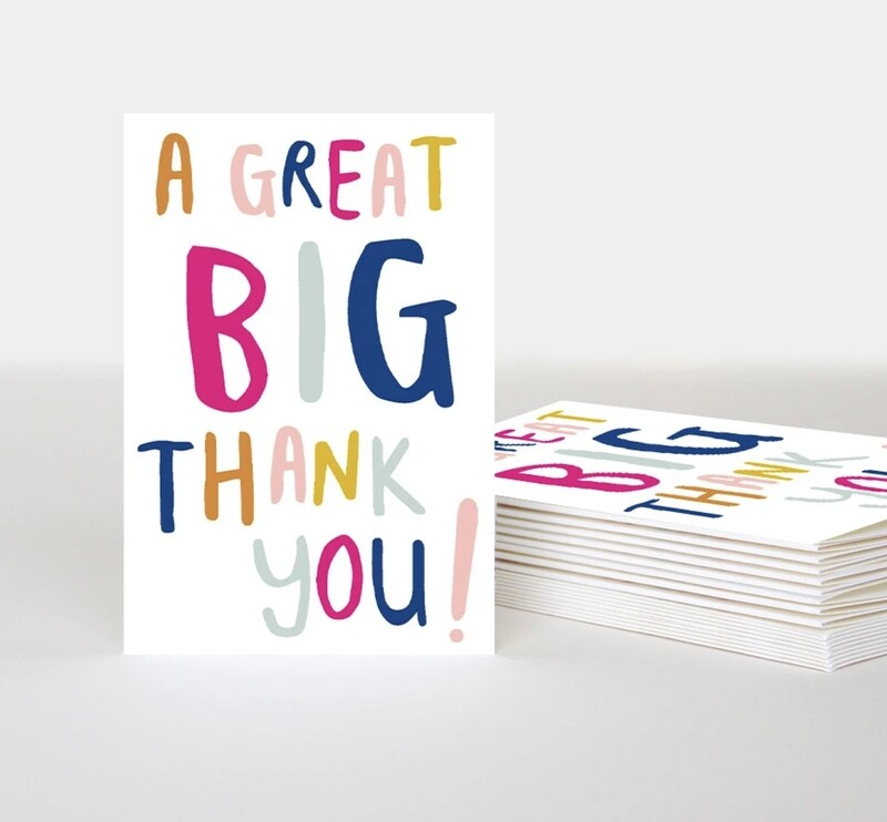 Pack of 10 Notecards Big Thank You