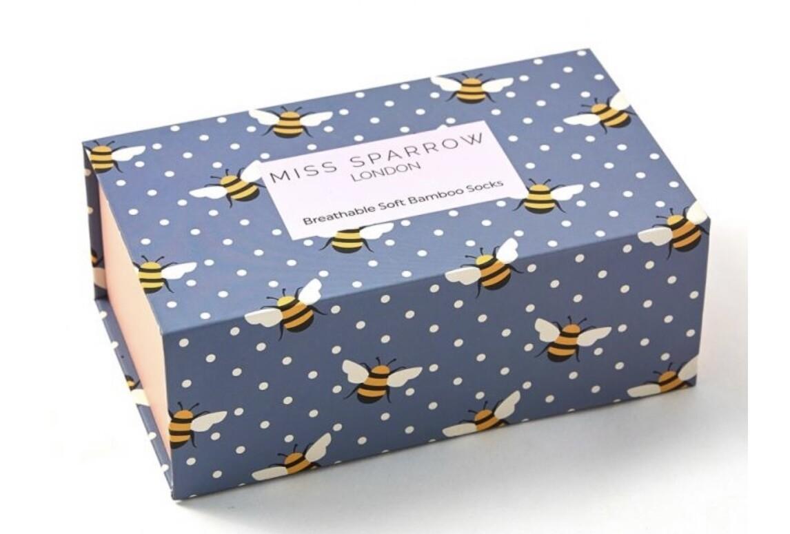 Ladies Bamboo Socks Box of Bees