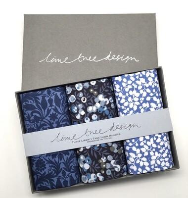 Lime Tree Design 3 Liberty Hankies in a Gift Box - Moonlight Sonata