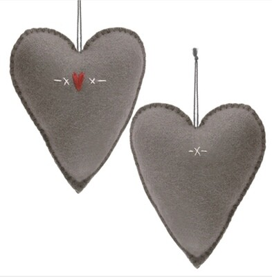 East of India Felt Hanging Large Embroidered Grey Heart