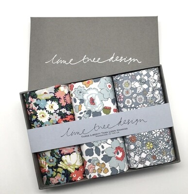 Lime Tree Design 3 Liberty Hankies in a Gift Box -Shades of Grey