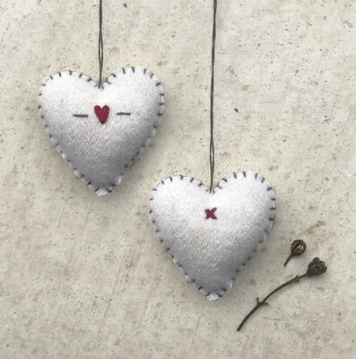 East of India Felt Hanging Embroidered Cream Heart