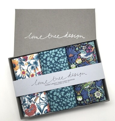 Lime Tree Design 3 Liberty Hankies in a Gift Box -Strawberry Hill