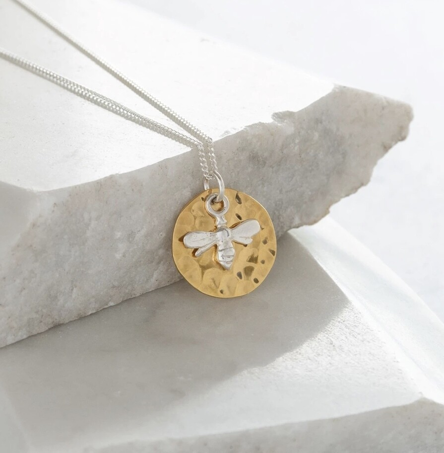 Lime Tree Design Hammered Disc with Bee Gold Vermeil and Sterling Silver