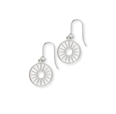 Lime Tree Design Wagon Wheel Silver Earrings