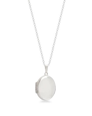 Lime Tree Design  Silver Oval Locket Necklace