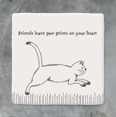 East of India Ceramic Coaster - Friends Leave Paw Prints on Your Heart