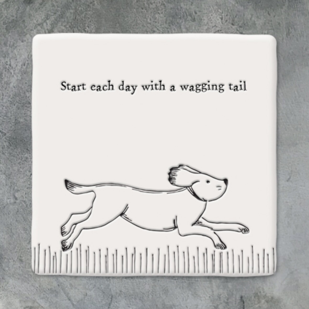 East of India Ceramic Coaster - Start Each Day With a Wagging Tail