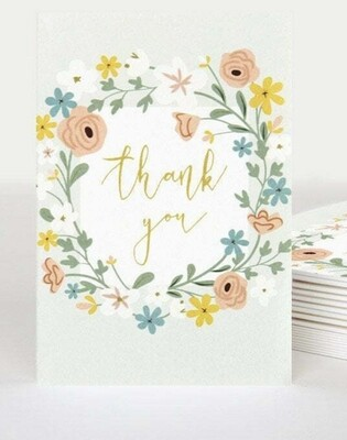 Pack of 10 Notecards Floral Wreath