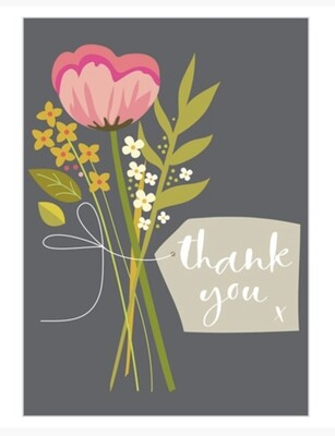 Pack of 8 Notecards Floral Thank You