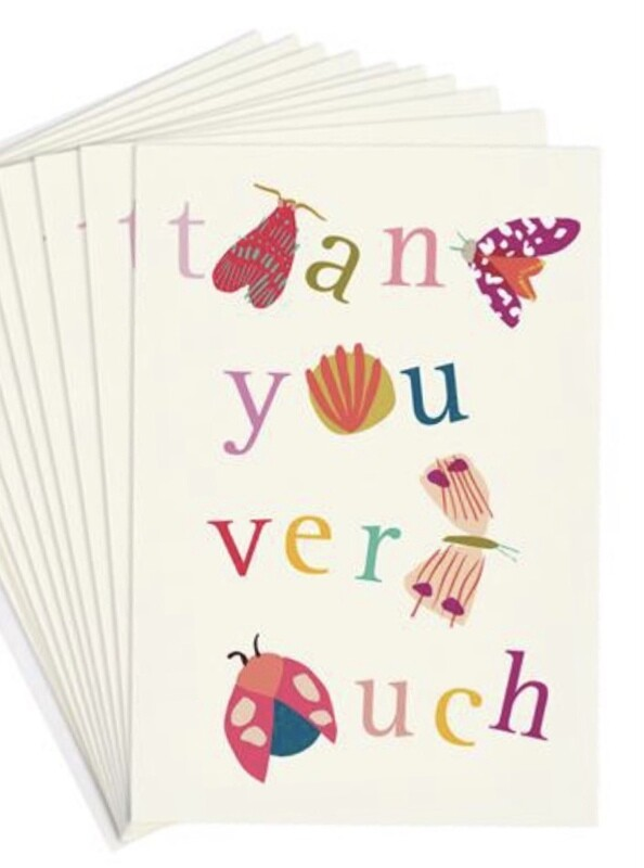 Pack of 10 Notecards Thank You Bugs