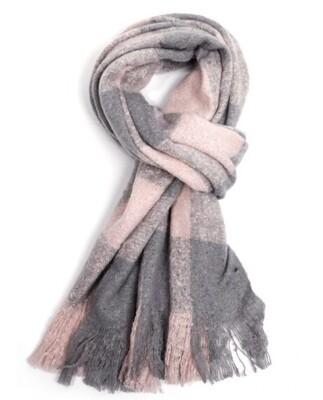 Fashion Scarf Pink and Grey Tartan