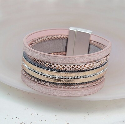 Pom Bracelet Gold and Pink Leather Crystal