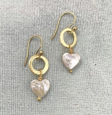 LWL Earrings Pearl Heart Gold