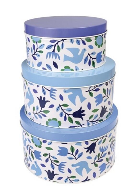 Set of 3 Folk Doves Nesting Cake Tins