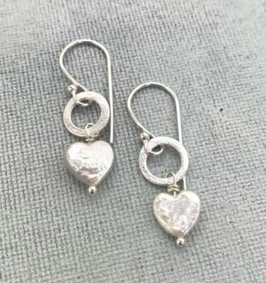LWL Earrings Pearl Heart Silver